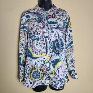 Talbots Floral Long Sleeve Button Up